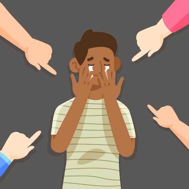 Concetto di razzismo con persone che indicano qualcuno Vettore gratuito