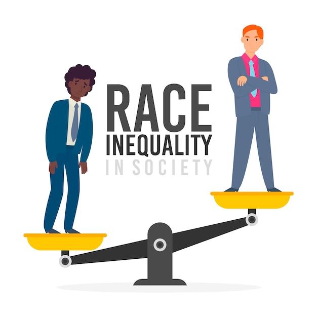 Концепция расизма с весами Бесплатные векторы