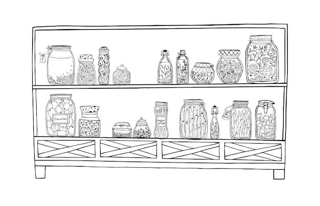 Стеллаж с маринованными банками с овощами, фруктами, зеленью и ягодами на полках Premium векторы