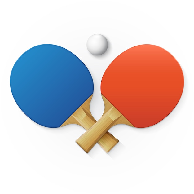 Rackets and ball for table tennis Premium Vector
