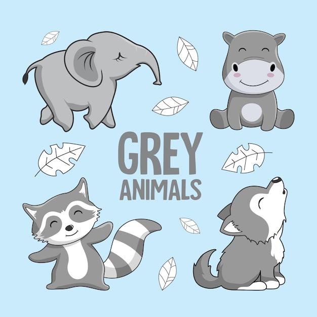 Серый мультфильм животных слон бегемот racoon wolf Premium векторы