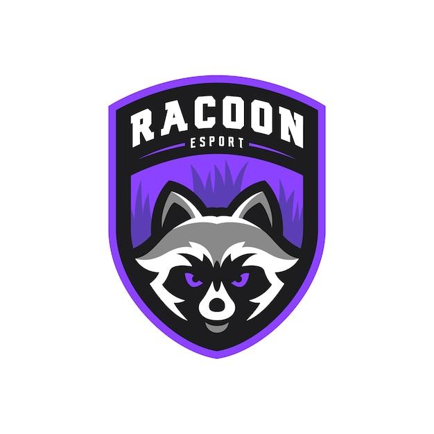 Racoon талисман киберспорт игры логотип иллюстрации Premium векторы