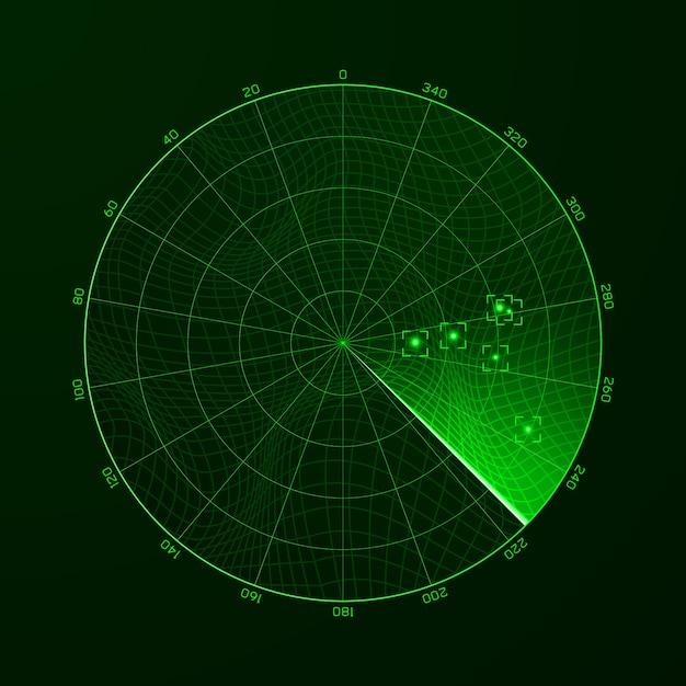 レーダー。ブリップ。レーダー上の物体の検出。 Premiumベクター