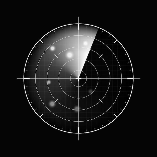 暗い背景上のレーダー。軍事検索システム。 hudレーダーディスプレイ、イラスト Premiumベクター