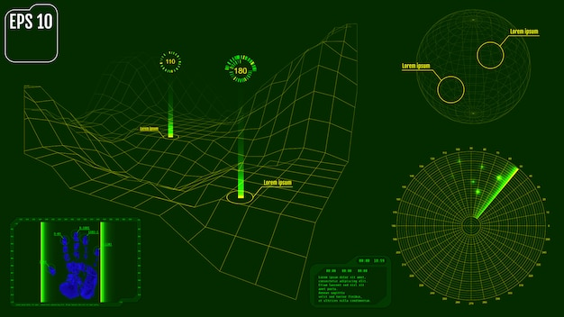 Radar screen with planet, map, targets and futuristic user inter Premium Vector
