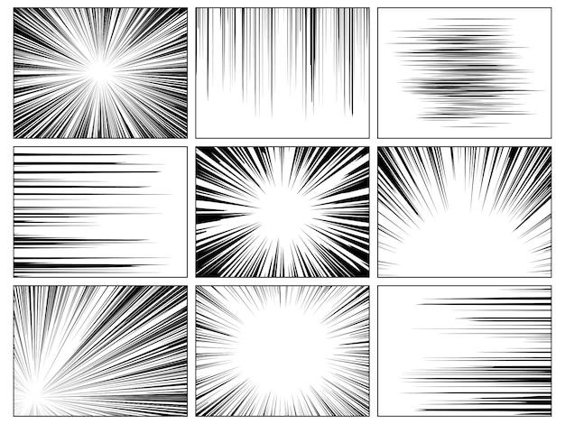 Радиальные комиксы. комикс скорость горизонтальная линия обложка скорость текстура действие луч взрыв герой рисунок мультфильм набор Premium векторы