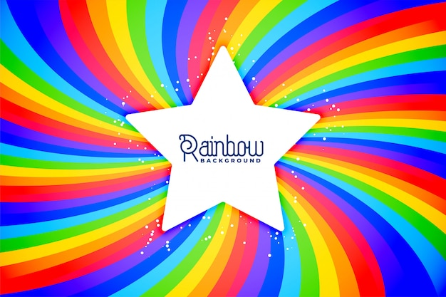 Radial rainbow swirl background with star Free Vector