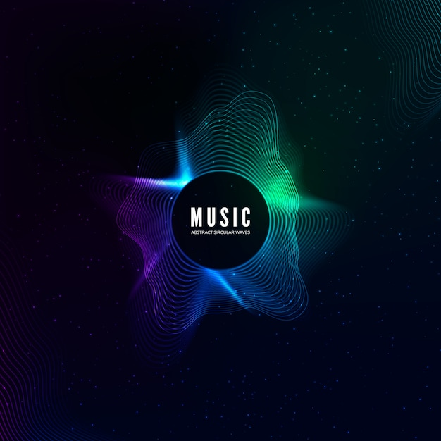 Radial sound wave curve with light particles. colorful equalizer visualisation. abstract colorful cover for music poster and banner.  background Premium Vector