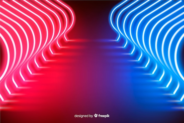 Radiant neon lights stage background Free Vector