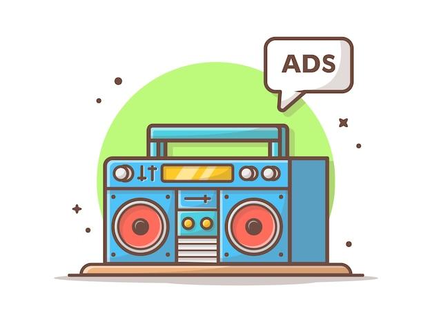 ラジオ広告ベクトルアイコンイラスト。ラジカセと広告サイン、ラジオアイコンコンセプト Premiumベクター
