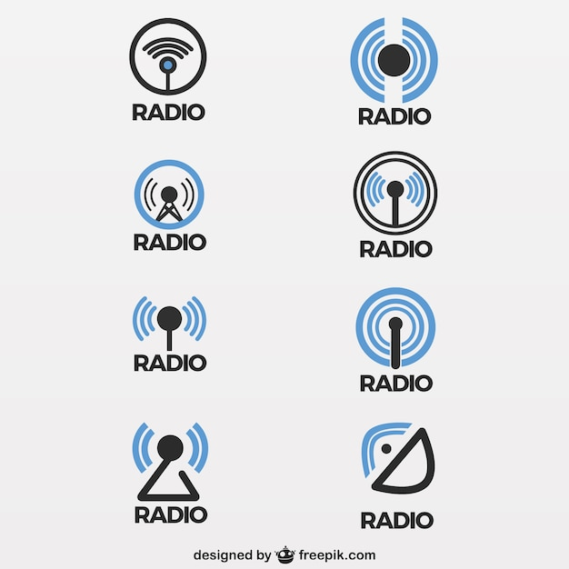 Radio antenna icons Free Vector