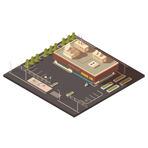 Radio center building concept with parking and equipment isometric vector illustration Free Vector