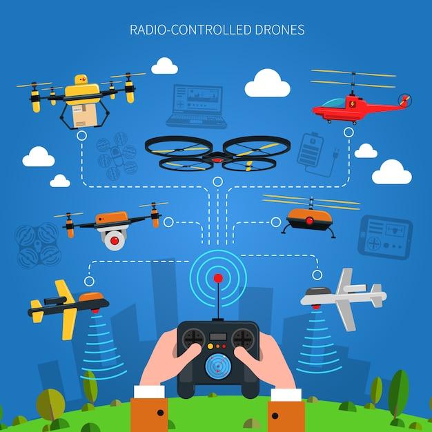 Radio-controlled drones concept Free Vector