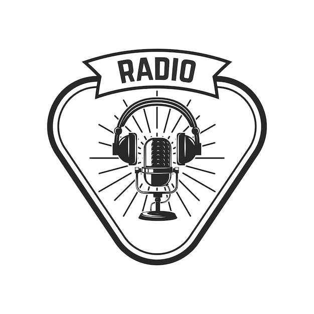 無線。レトロなマイクを使ってエンブレムテンプレート。ロゴ、ラベル、エンブレム、記号の要素。図 Premiumベクター