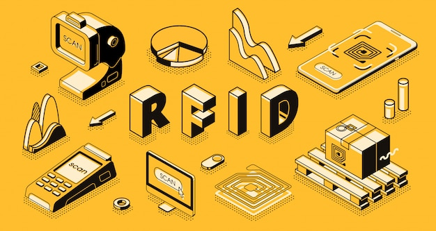 Radio frequency identification technology isometric vector concept with rfid reader or scanner Free Vector