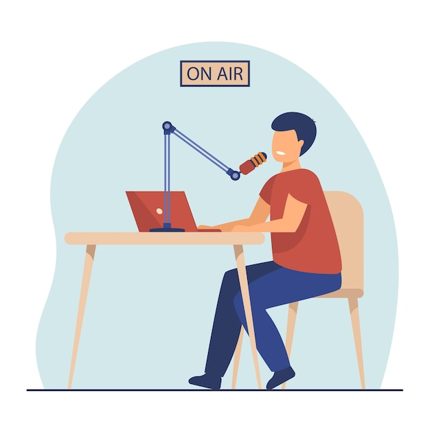 Radio host speaking at microphone at laptop. on air, presenter, blogger. cartoon illustration Free Vector