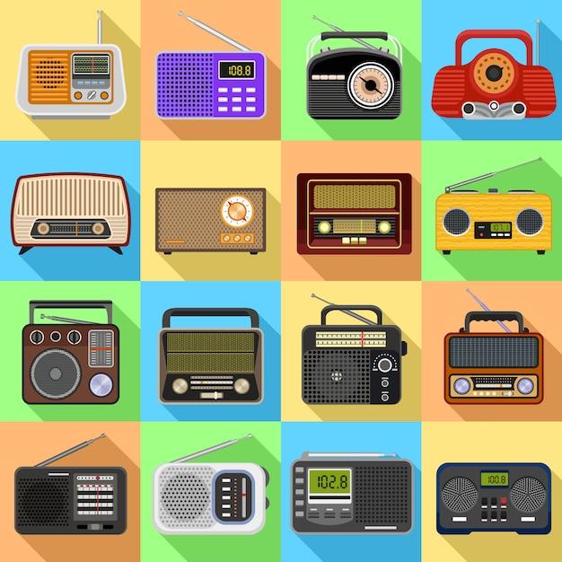 Radio icons set. Premium Vector