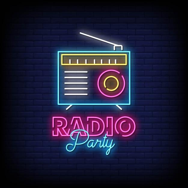 レンガの壁にラジオパーティーネオン看板 Premiumベクター