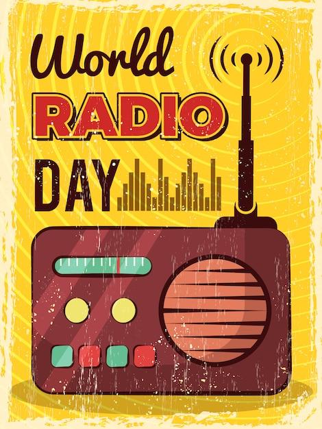 Radio poster. microphone broadcast studio mic and speakers  placard design Premium Vector