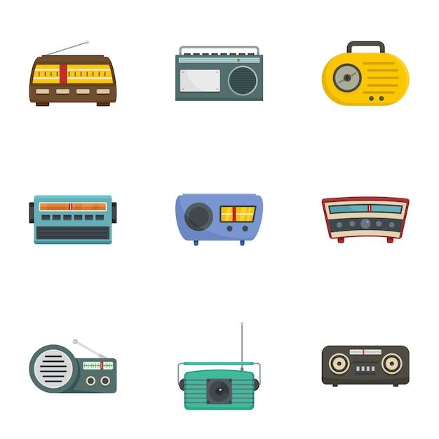 ラジオ局のアイコンセット、漫画のスタイル Premiumベクター
