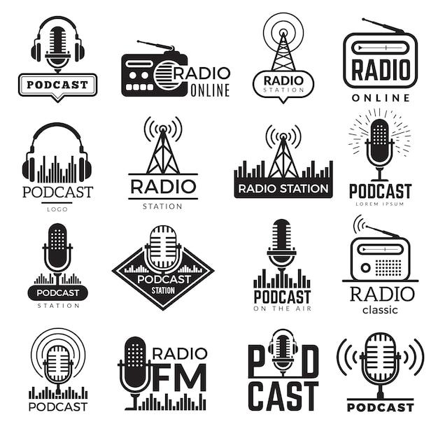 Radio station logo. music studio podcast speaker badges collection Premium Vector