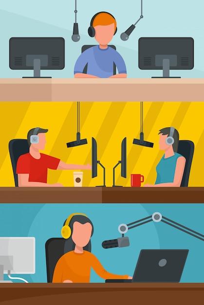 Radio station music Premium Vector