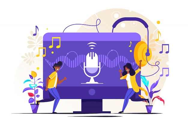 Radio talk show, discussion and interview persons concept Premium Vector