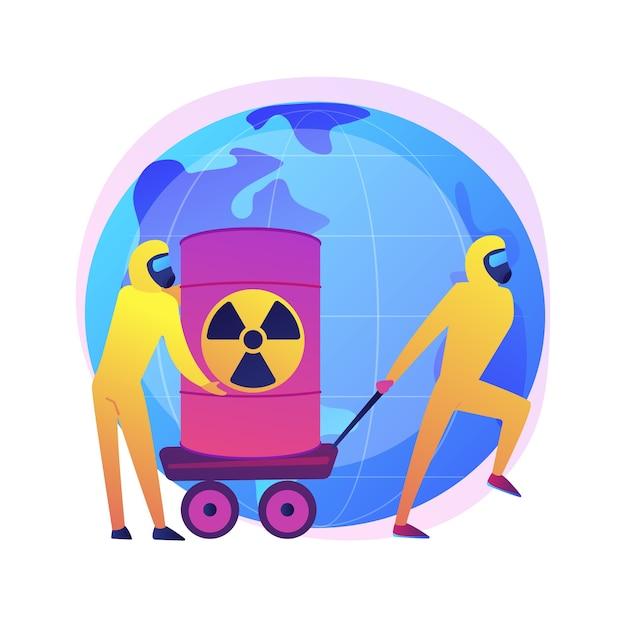 방사성 배럴. 생물학적 무기로 보호 복을 입은 사람들. 화학 제품. 독성 물질, 독성 통, 핵 위험. 무료 벡터