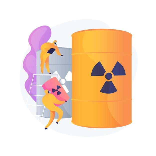 Barili radioattivi. persone in tute protettive con armi biologiche. prodotti chimici. sostanza velenosa, fusti tossici, pericolo nucleare. Vettore gratuito