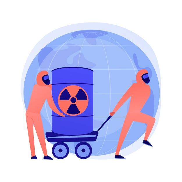 Barili radioattivi. persone in tute protettive con armi biologiche. prodotti chimici Vettore gratuito