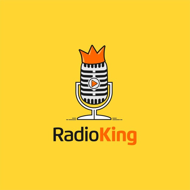 Radioking with microphone and crown Premium Vector