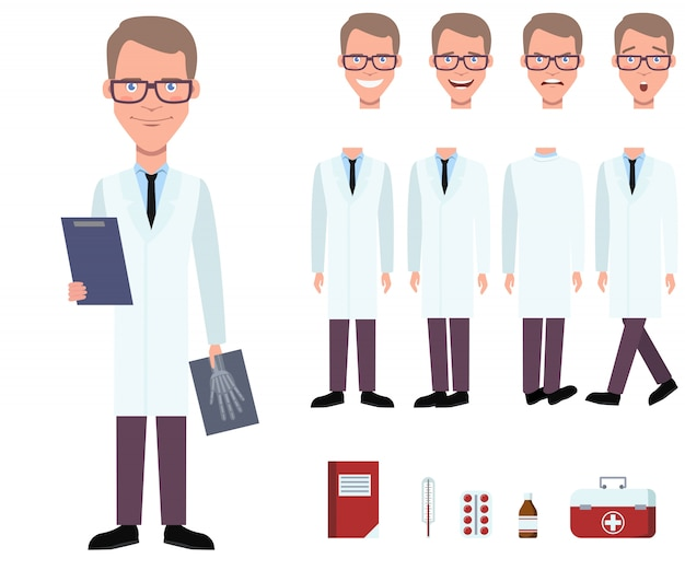Radiologist in lab coat holding x-ray image character set Free Vector