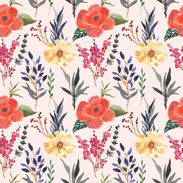 Rafflesia arnoldii floral watercolor seamless pattern Premium Vector