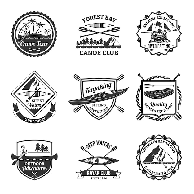 Rafting canoeing and kayak emblems set Premium Vector