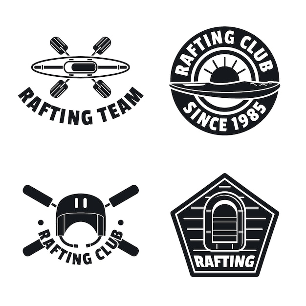 Rafting kayak canoe logo icons set Premium Vector