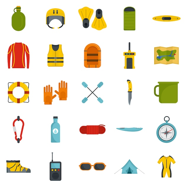 Rafting kayak water canoe icons set Premium Vector