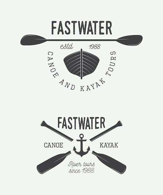 Rafting logo, labels Premium Vector