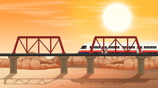 A rail at desert scene Free Vector