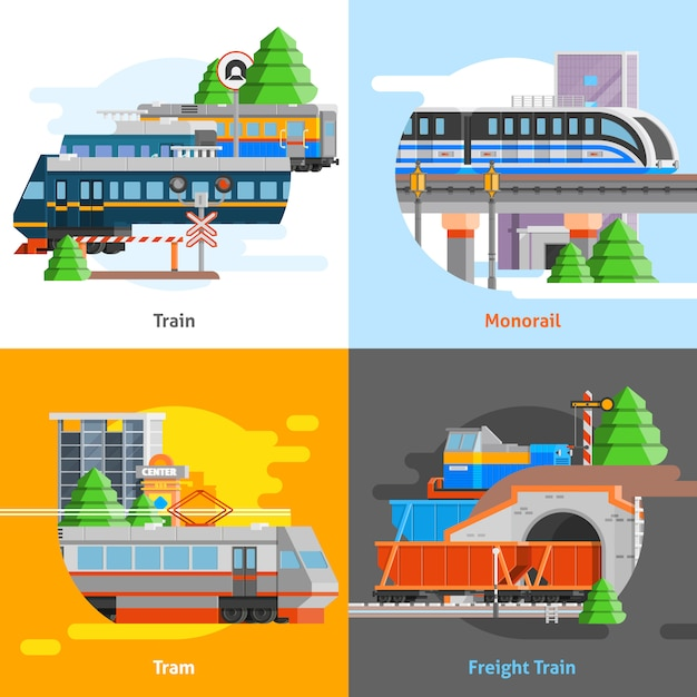 Rail transport 2x2 design concept Free Vector