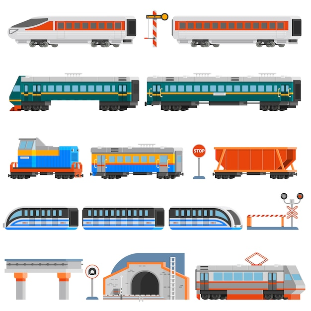 Rail transport flat colorful icons set Free Vector