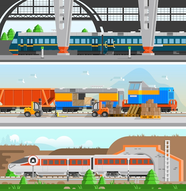 Rail transport horizontal flat banners Free Vector