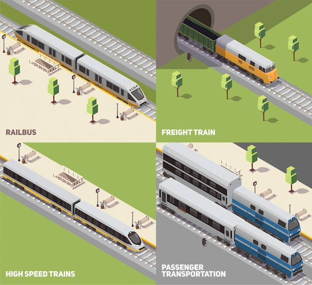Railbus freight cargo and high speed trains passenger transportation concept 4 isometric icons set isometric Free Vector