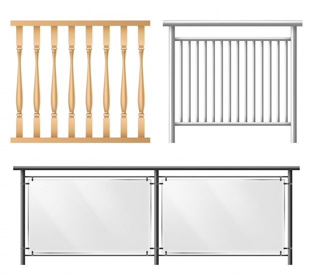Railings, fence sections realistic vector set Free Vector