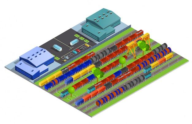 Railroad cargo transportation isometric illustration Free Vector