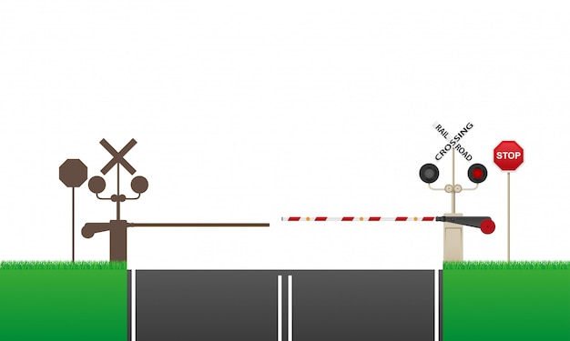 Railroad crossing vector illustration Premium Vector