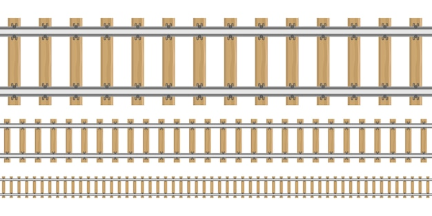 Railroad in different sizes illustration isolated on white background Premium Vector