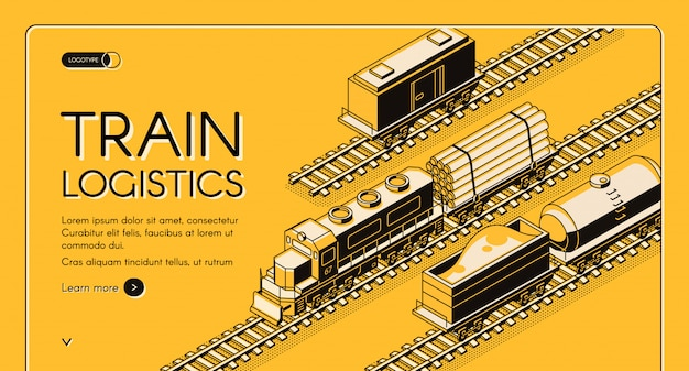 Railroad industrial transport company isometric vector web banner Free Vector