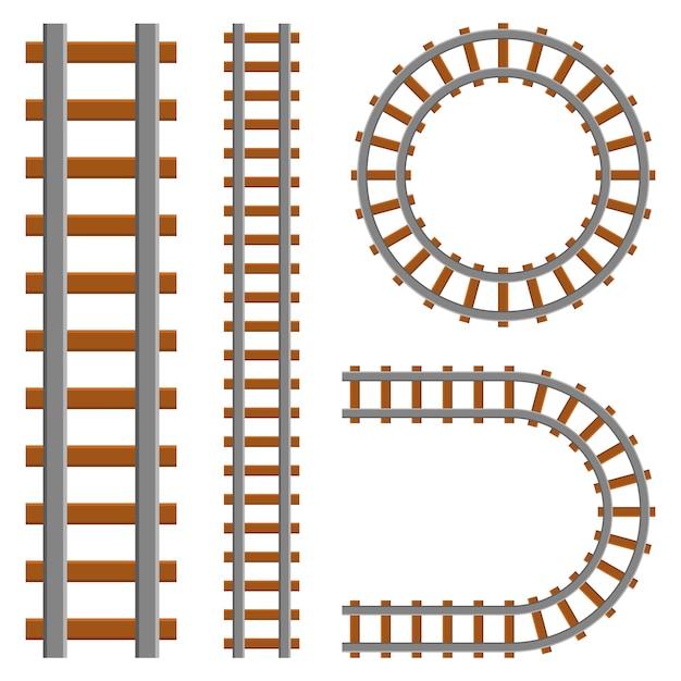 Железнодорожная сценография на белом фоне Premium векторы