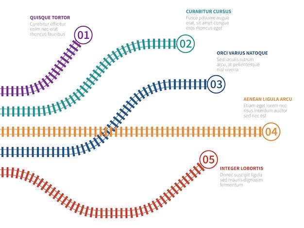 Железнодорожные пути инфографики. схема опций железнодорожного отслеживания, блок-схема шага Premium векторы