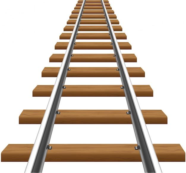 Rails with wooden sleepers vector illustration Premium Vector